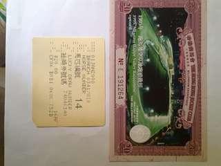 1995年 馬會紀念啟用全草夜馬賽事紀念票