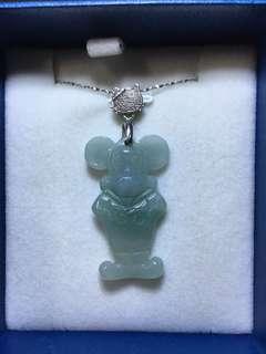 天然A貨玉器米奇老鼠造型翡翠吊墜(配有925銀鏈及925銀扣一套)