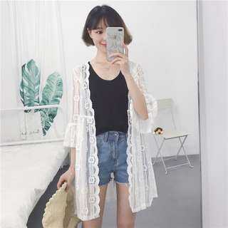 Women White Floral Lace Cardigan