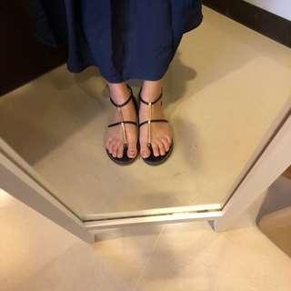 金屬羅馬涼鞋平底鞋