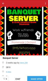 Part-time. Banquet up to $10/hr