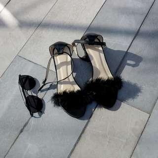 Faux Fur Block Heels Size 6 (Still negotiable)