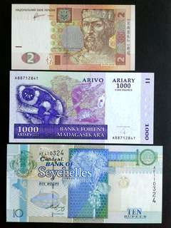 World UNC x3 banknotes#1