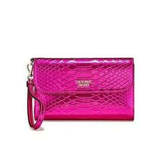 Victoria's Secret Tech Wallet Metallic Pink Python VS Wristlet Clutch