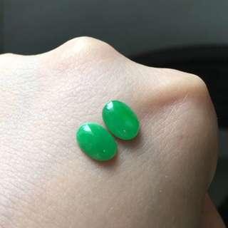 天然A貨陽綠耳釘一對