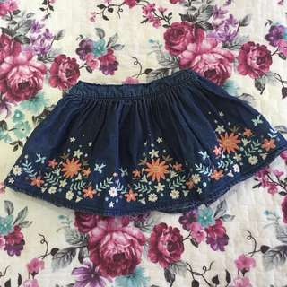 H&M Embroidery denim skirt (1-2yo)
