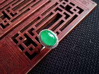 翡翠A貨18K金鑲鑽種好水潤滿色滿綠蛋面戒指特惠包郵順豐,配送證書