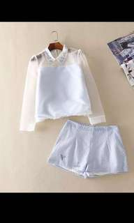 Cute baby blue lace top and shorts size S-M淺藍色歐根紗蕾絲短褲套裝 #mayflashsale