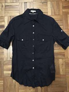 AUTHENTIC BURBERRY NAVY SHEER BUTTONDOWN SHIRT