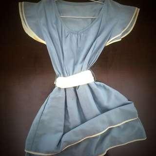 Blue Grey White Ribbon Dress