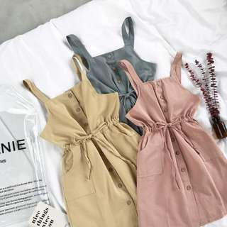 🚚 🌸[ PO ] Retro Single-Breasted Strap Dress