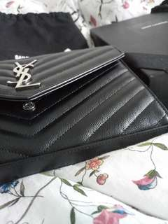 Ysl woc large caviar black silver wallet-on-chain (only one)