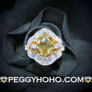 【Peggyhoho】 全新18K黃白金1卡81份橄欖綠色彩鑽配38份真鑽石戒指| olive green | 罕有近2卡彩綠鑽 HK14號