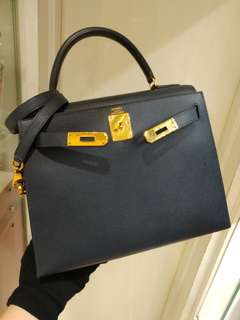 Hermes kelly 28 navy blue epsom
