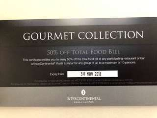 50% off total food bill up to 10 persons at InterContinental KL
