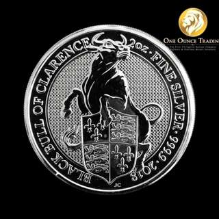"2 oz Queen's Beasts ""The Bull"" Silver Round (with capsule)"