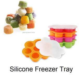 Silicone freezer tray / wadah penyimpanan makanan bayi / silicon baby food tray with lid