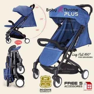 BABY THRONE PLUS STROLLER-(Easy Fold )  Blue