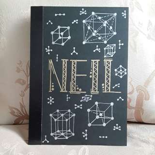 Custom Name and Science based Design on A5 size lined notebook