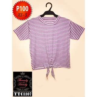 Lavender striped blouse with front ribbon
