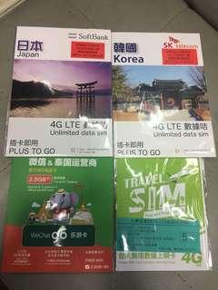 Travel sim 日、韓、台、泰