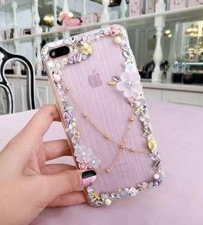 iPhone Case 7/7 Plus/6/6 Plus X 半透明全包軟殼水晶石花手工電話殼