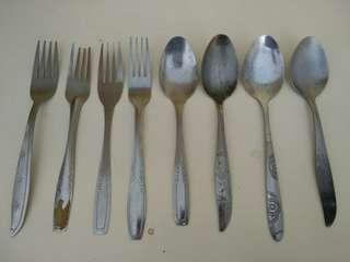 Sendok & garpu makan stainless 4 pasang / 8 pcs