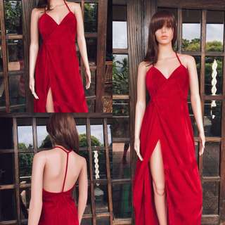 Red velvet sexy gown