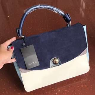 Zara City Bag Combinado Suede Original Navy Blue / Handbag Tas Kerja Besar Branded Import