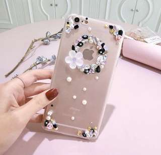 iPhone Case 7/7 Plus/6/6 Plus X 透明軟殼全包水晶石花朵🌺Case
