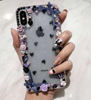 iPhone Case 7/7 Plus/6/6 Plus 蕾絲網底半透明水晶石花軟殼