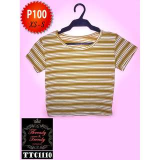 Dark yellow striped cropped top