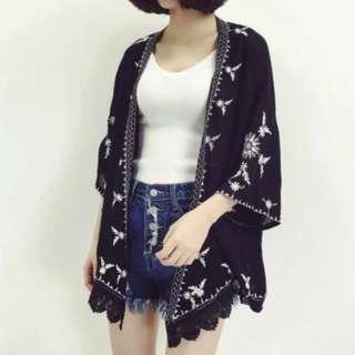 [PO] Chiffon Navy Blue-black Embroidery Outerwear