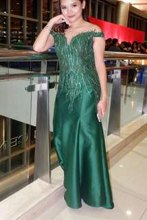 Emerald green off shoulder gown - Paolo Blanco (FOR RENT)