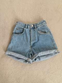 """ZARA Denim """"Bermuda"""" Shorts; High Waisted Mom-Fit"""