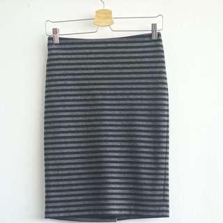 Stripe Grey Pencil Skirt