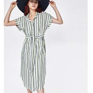 Europe and the United States vertical stripes printing double pockets waist tie shirt dress