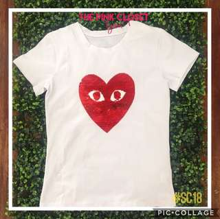 White Blouse with red sequined Play Heart Face❤️