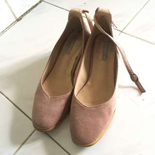 Suede wedges sandal heels pink
