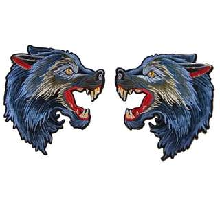 Wolf Pair Gucci Style Embroidered Iron On Patch