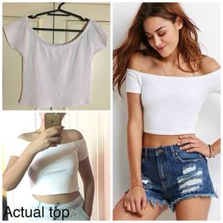 Forever 21 White Off-Shoulder Crop Top