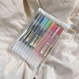muji gel ink pen with case 0.5