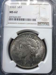 America Silver Dollars NGC MS62