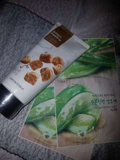 The faceshop smart peeling & nature republic mask sheet