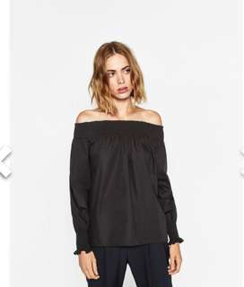 Zara Black Off Shoulder Top