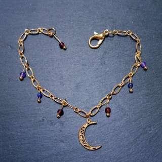 🚚 手作-月詠-藍紋石*紅石榴石*紫玉髓手鍊