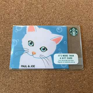 Singapore Starbucks Card Paul & Joe White Kitty Card