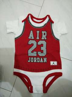 Jordan infant baby 23 jersey romper 6 7 8 9 10 11 12 months red white