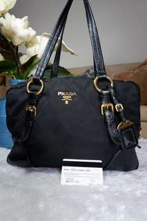 Authentic Prada Tessuto  BL0562 Black. Gold Hardware.Made in Italy