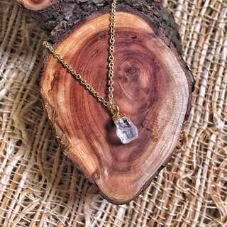 🚚 🇺🇸Herkimer Diamond Necklace美國赫基蒙水晶黃銅鍍K金項鍊